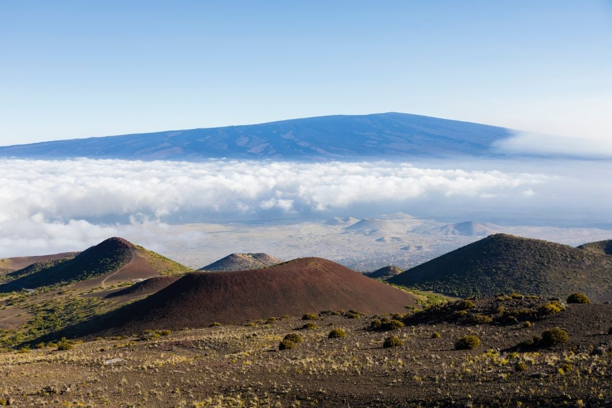Hawaii's Mauna Loa in the background with several smaller volcanoes in the foreground, common topics in fun facts about national parks