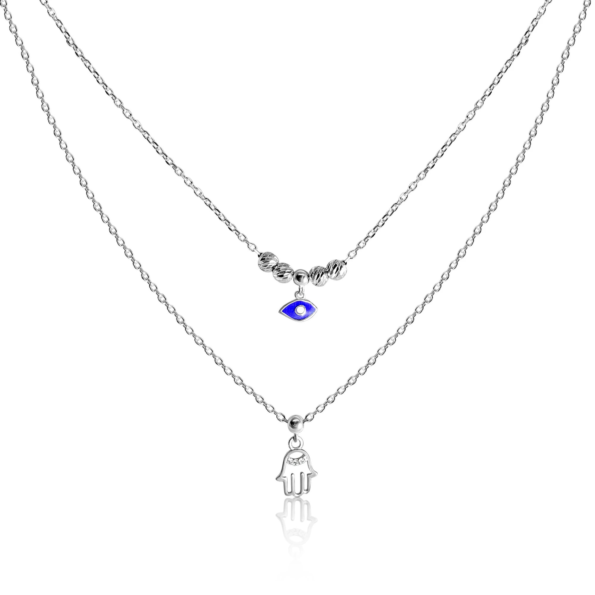 silver eye and hamsa necklace combo