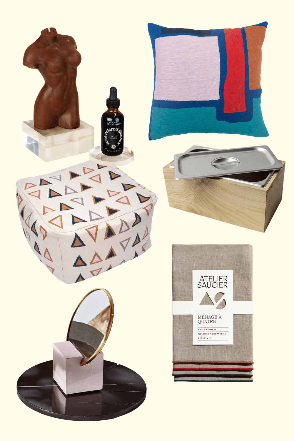 A flatlay collage full of awesome sustainable gift ideas from small, woman and BIPOC owned small businesses. There's a candle, an adaptogenic tincture, a cozy pillow, a bespoke compost bin, recycled deadstock linens that are super chic, really creative home decor accents like a vanity mirror made from recycled rubber and a organic cotton beanbag. It's the gift guide of a lifetime!