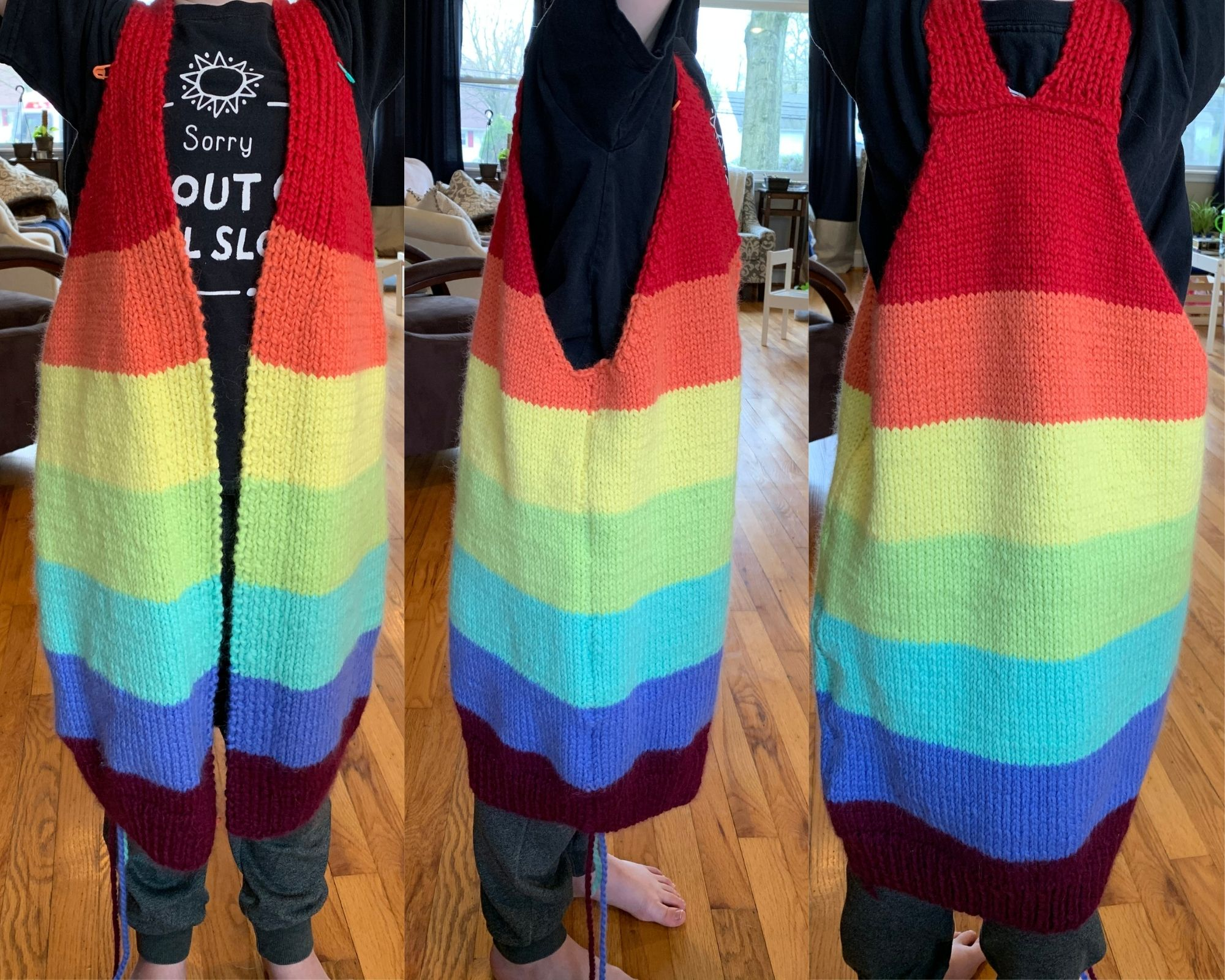 Three images are lined up next to each other of a knitted garment being worn.  It looks like a vest in rainbow stripes, as there are no sleeves attached.  The first image in from the front, middle image from the side, and last image on the left is the back.