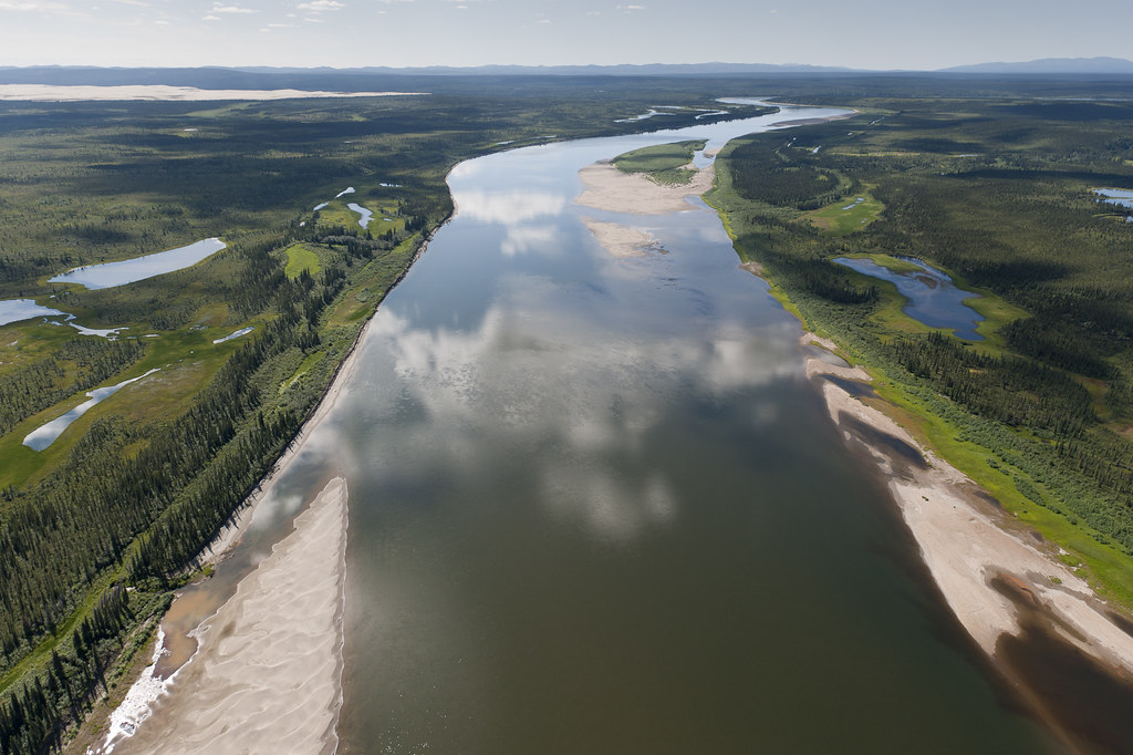 An aerial view of the Kobuk River and Great Kobuk Sand Dunes in Kobuk Valley National Park