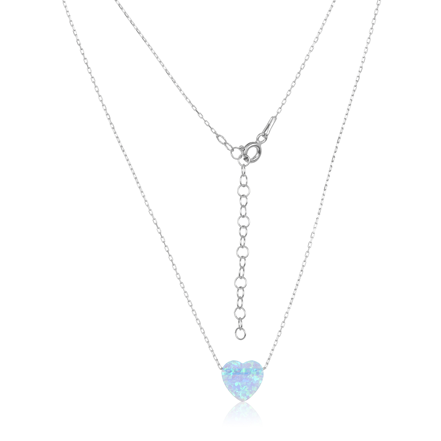 heart opal blue necklace