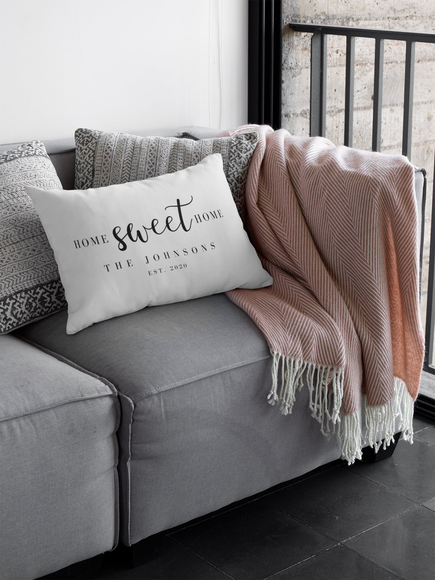 Personalized Homeowner Throw Pillow Sitting on a couch