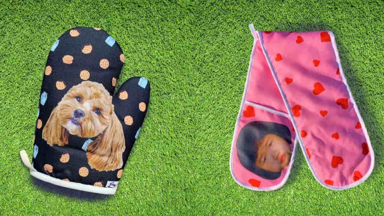 funny custom oven mitts for your boss