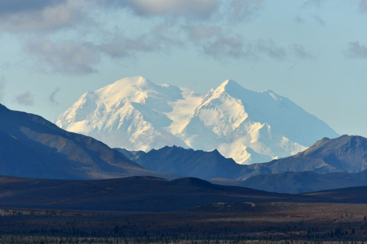 Snow-covered Denali, dominating the landscape in one of the most iconic Alaska national parks