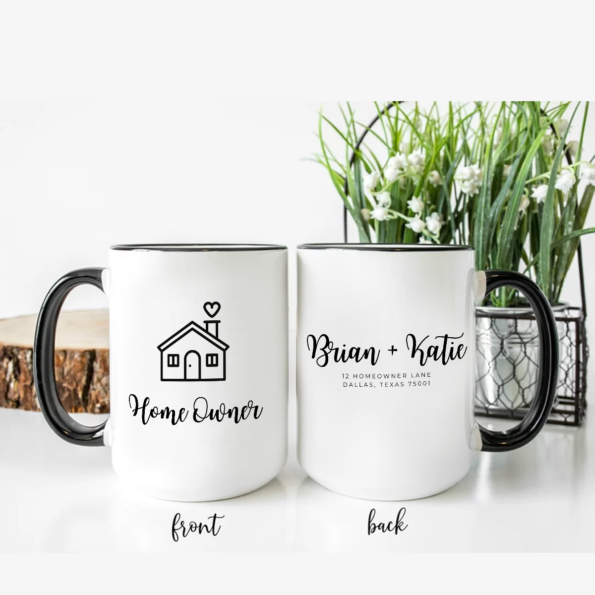 Two White 15oz Mugs With Black Handles Personalized for a new Homeowner Couple
