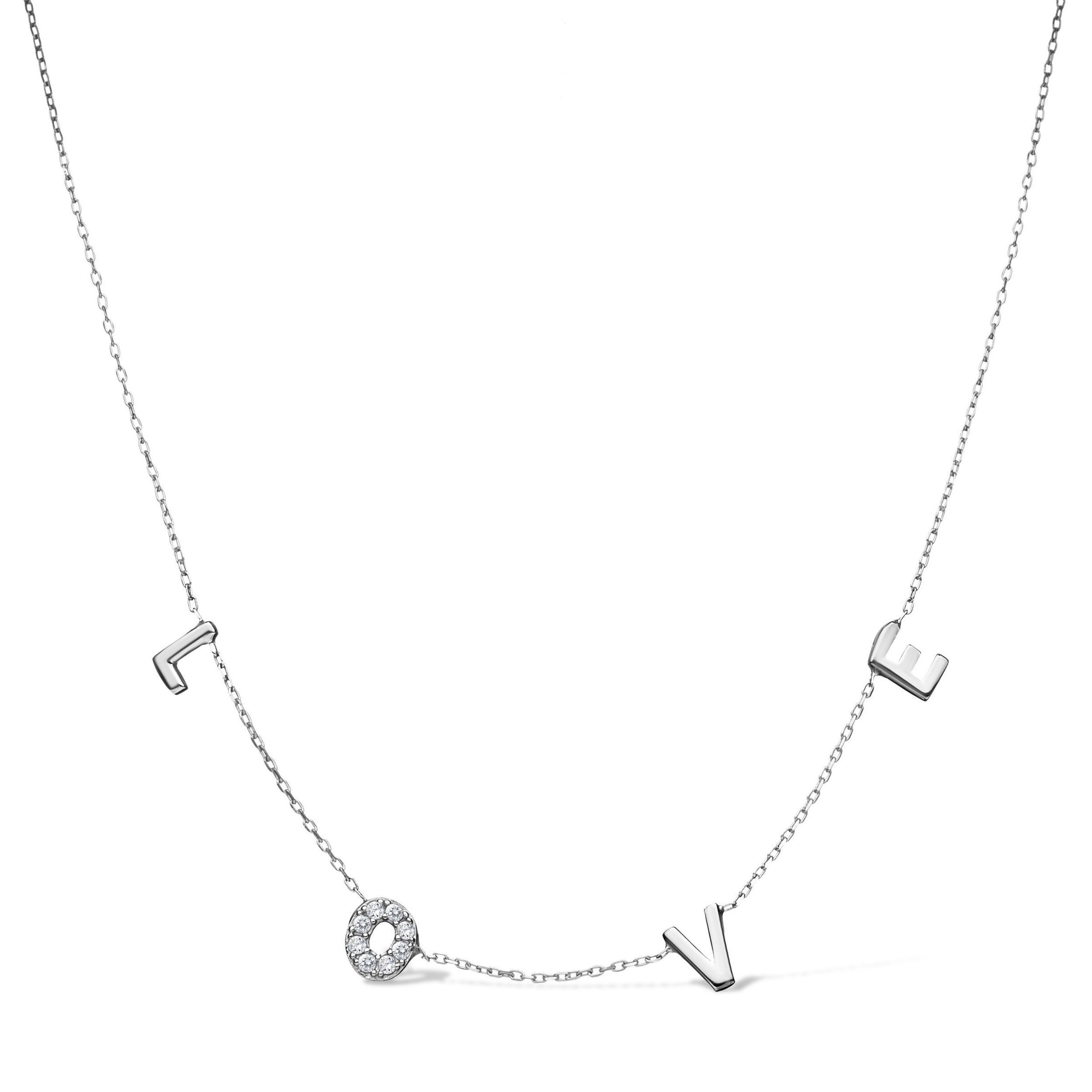 Love necklace in letters made in sterling silver