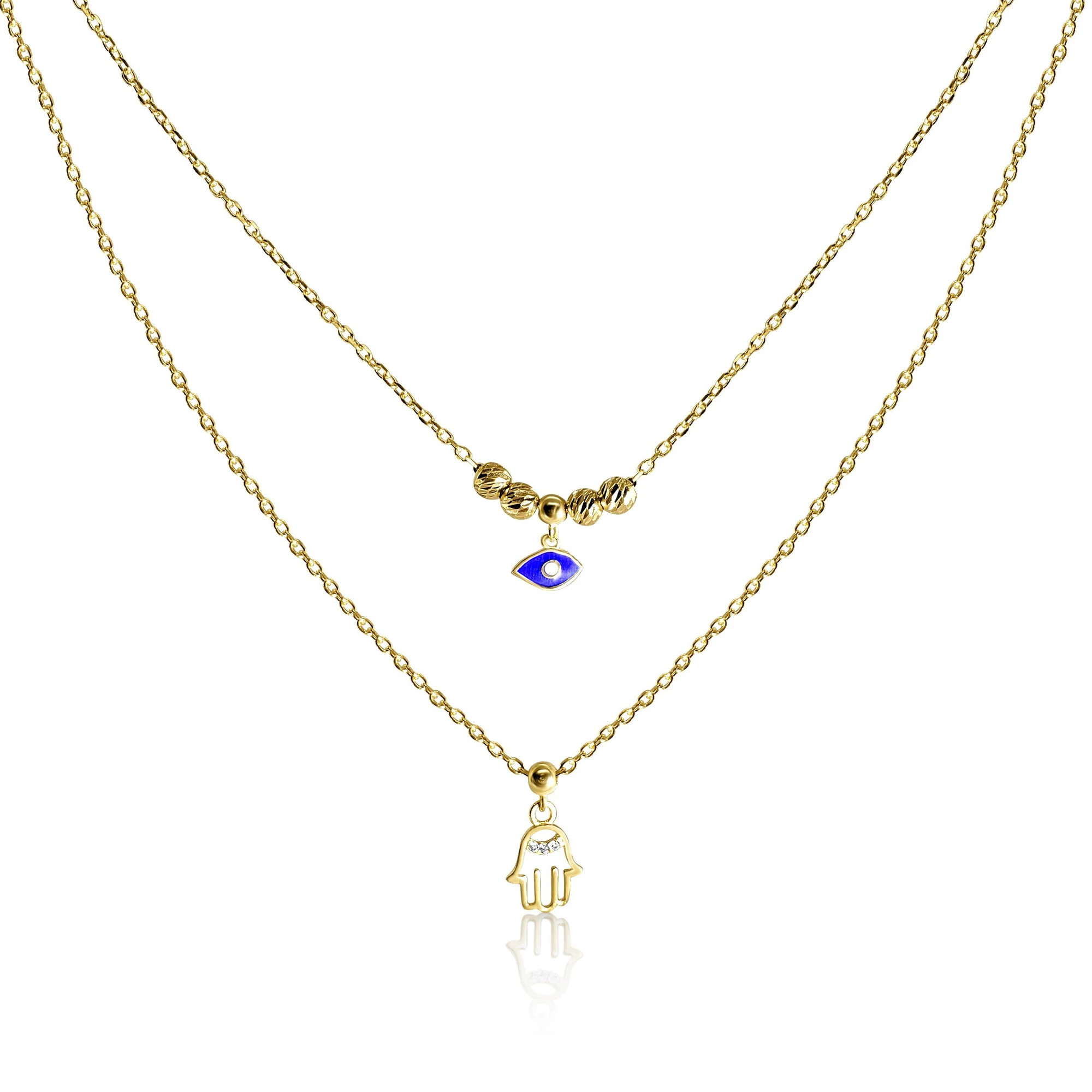 gold eye and hand necklace