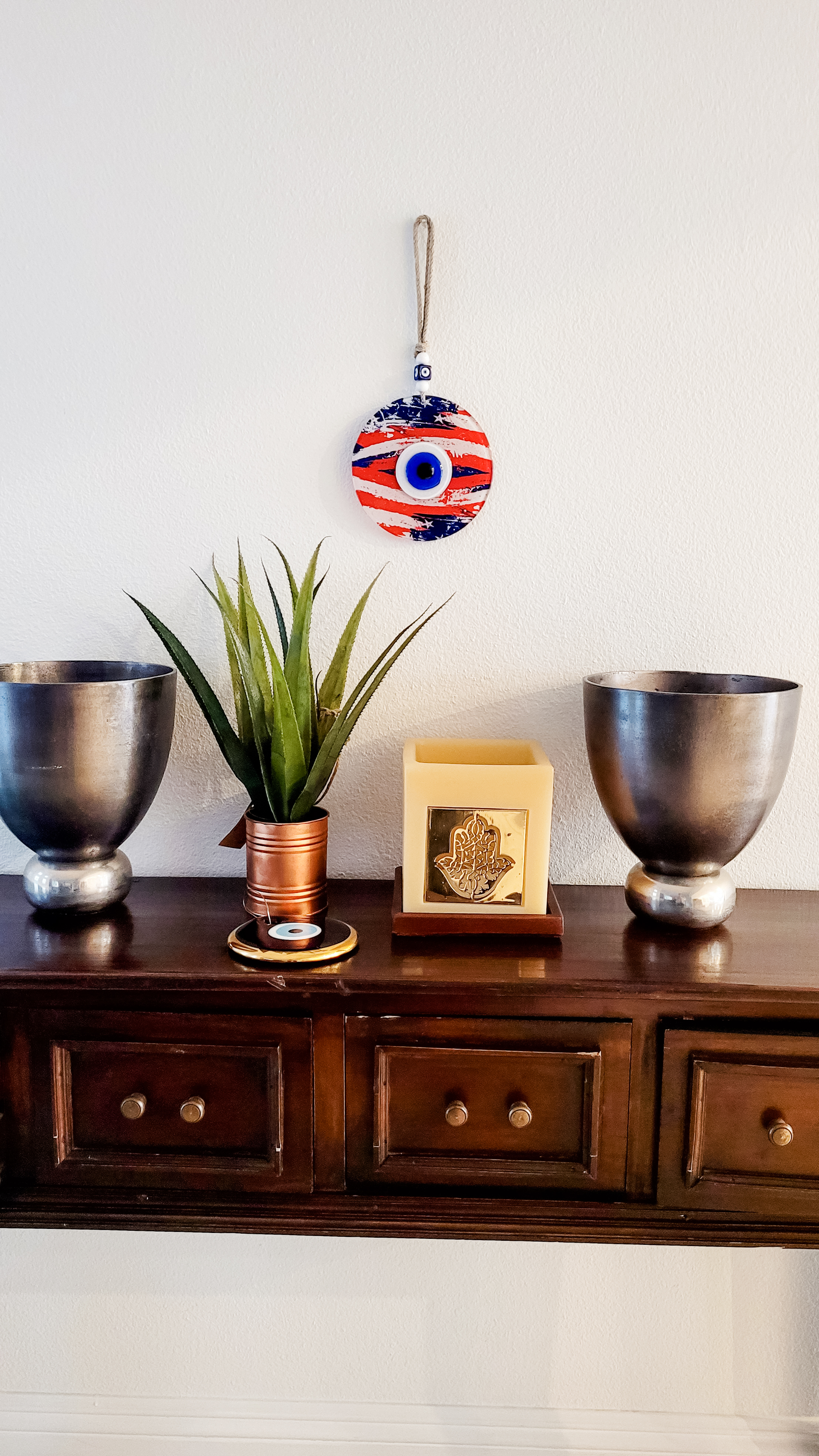 home decor with flag and evil eye