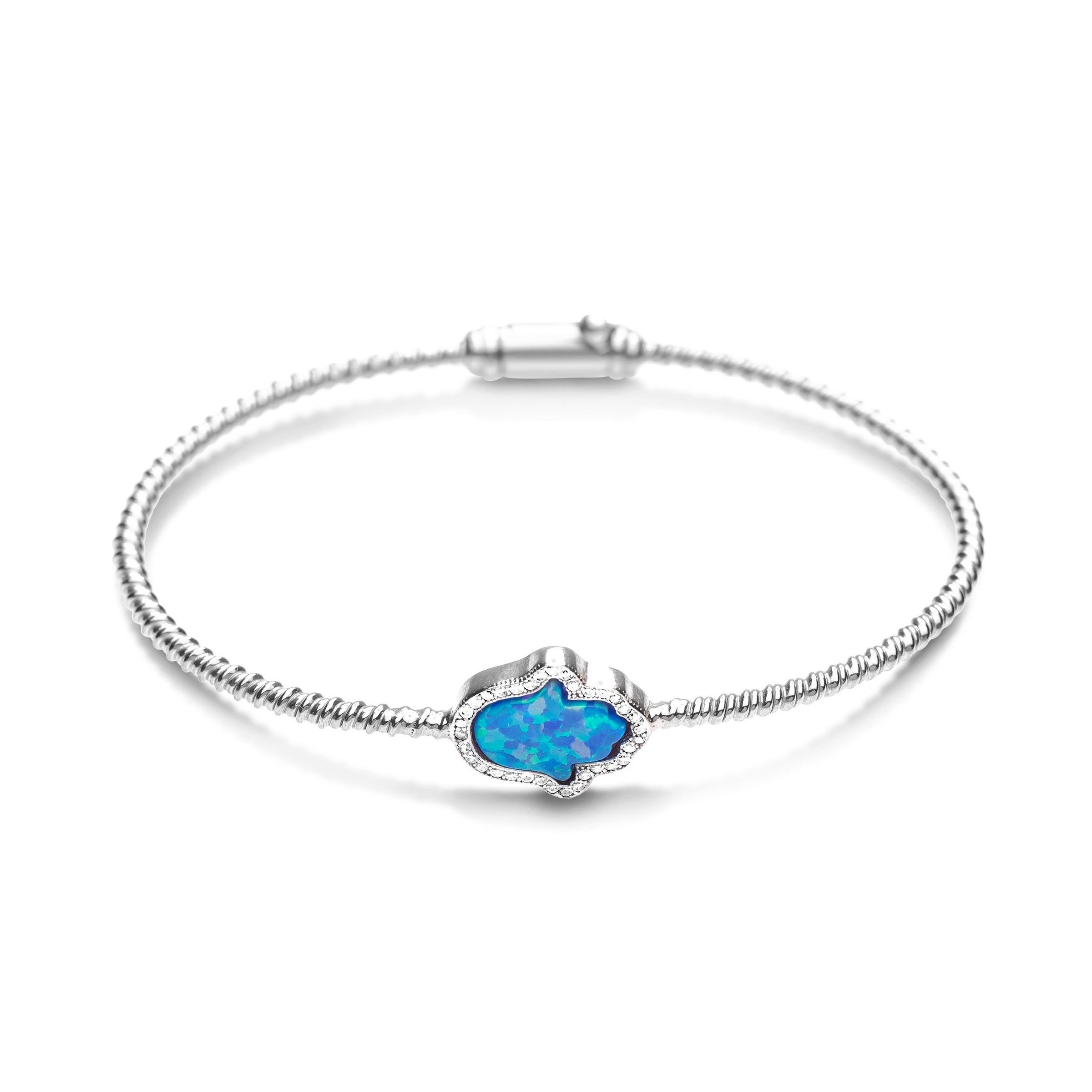 bangle blue opal hamsa
