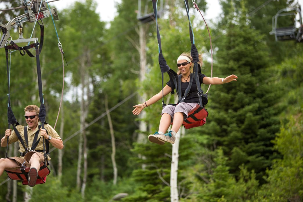 A zipline ride is one of the best ways to see the park.