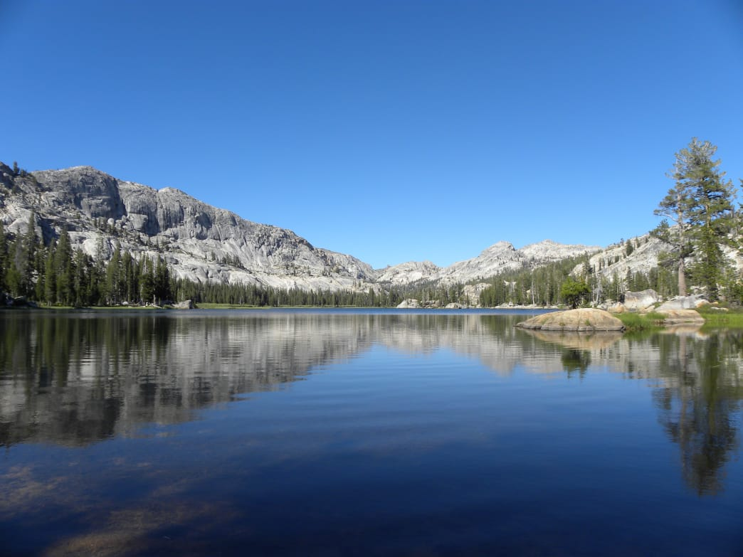 Upper Buck Lake beneath blue skies in the Emigrant Wilderness.