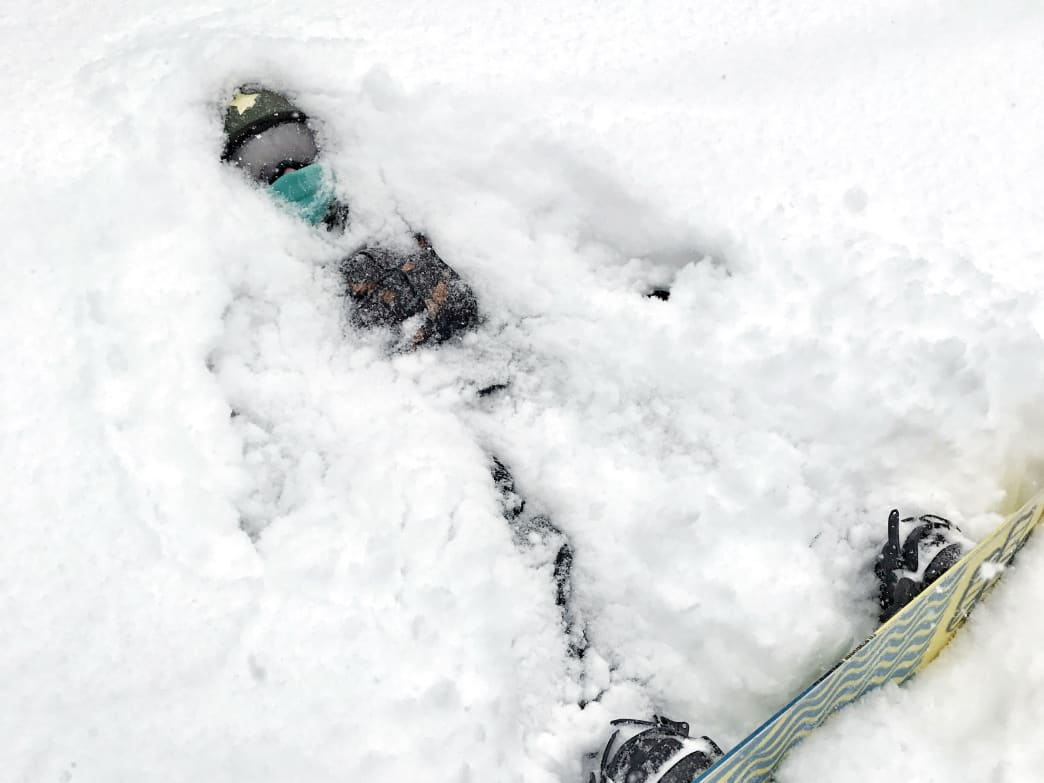 This is what a five-year old melting down on the slopes looks like.