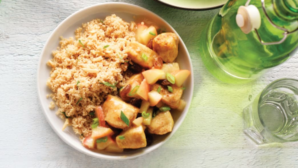 Plated Chicken & Red Apple Curry with Almond Couscous - Clean Eating Magazine