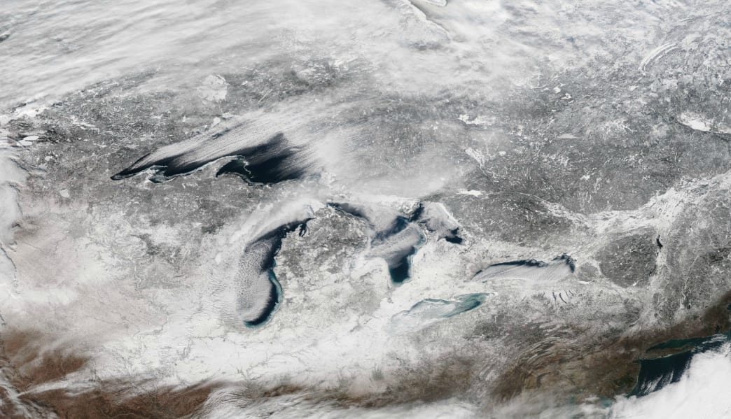 Great Lakes Snowbelt as seen from space