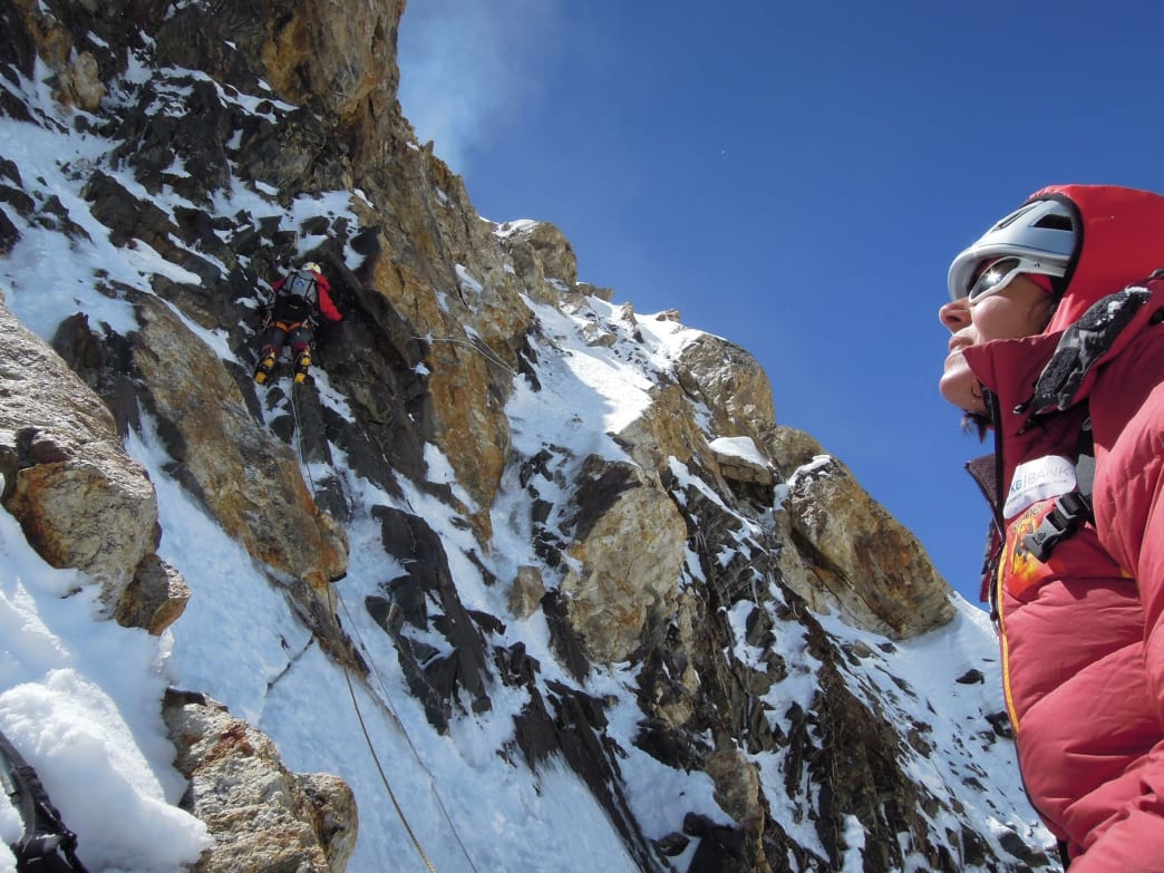 Kaltenbrunner looks up at the route on K2.