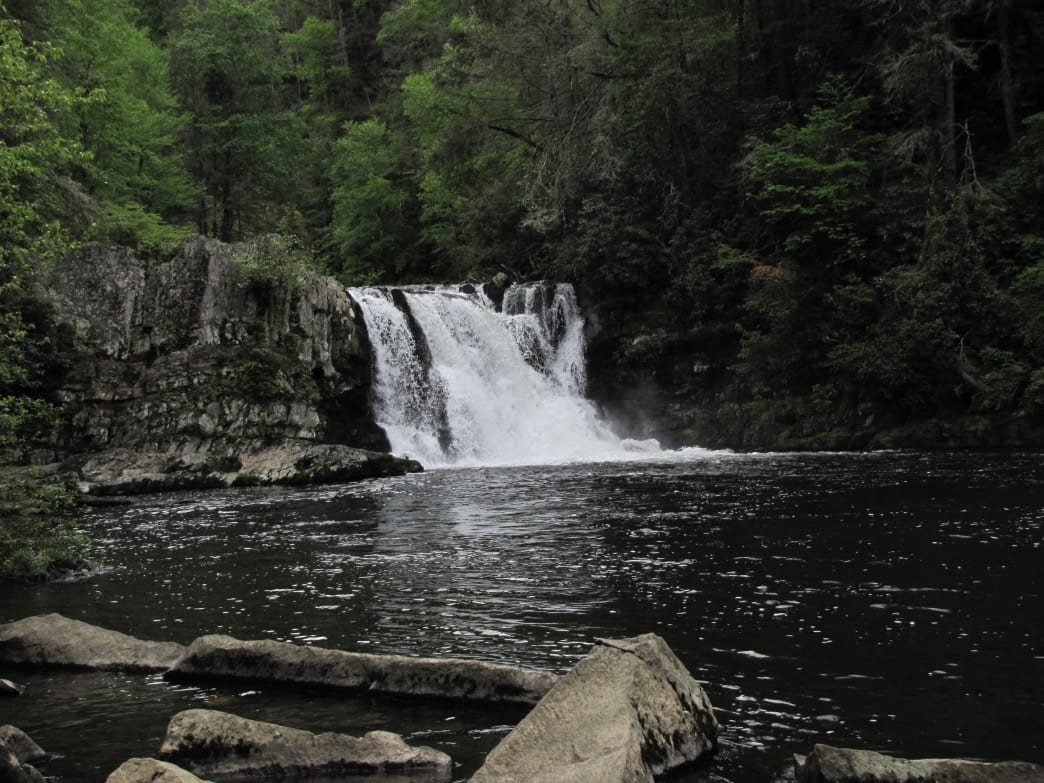 A 100-foot wide pool sits below the cascades of Abrams Falls