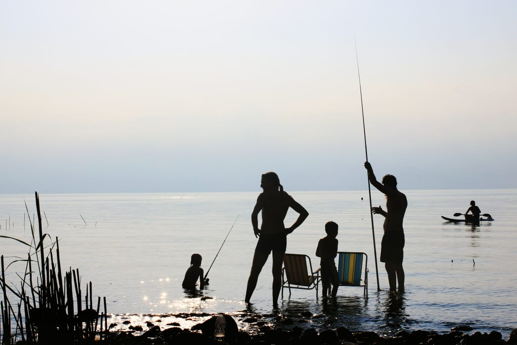 Fishing From Shore with Family