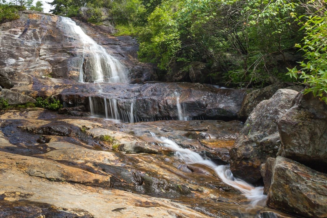 Hike to the Graveyard Fields waterfalls off the Blue Ridge Parkway.
