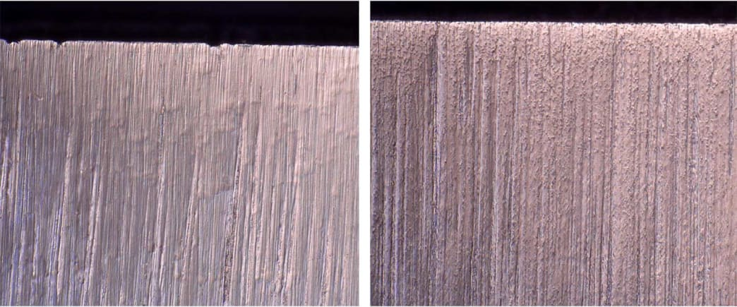 A microscopic view of the gaps in a knife blade left behind after carbides fall out. The edge on the left shows larger gaps and is a conventionally cast blade. The edge on the right is that of a knife made from powdered metal.