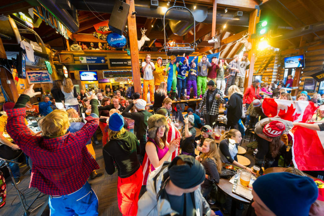 Apres magic often happens at Merlins, just steps from the base of Blackcomb Mountain.