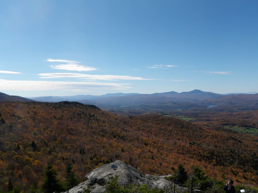 Views of fall foliage from the top of Stowe Pinnacle.