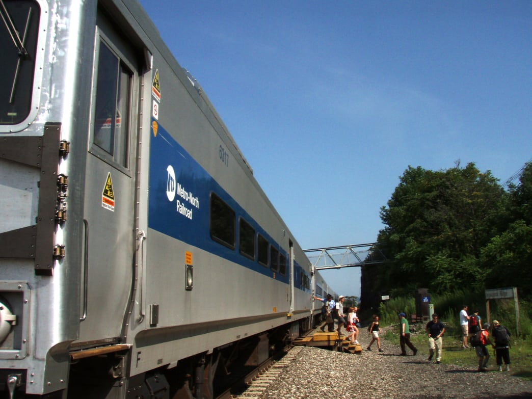 Disembarking from the Metro-North train to begin the Breakneck Ridge hike.
