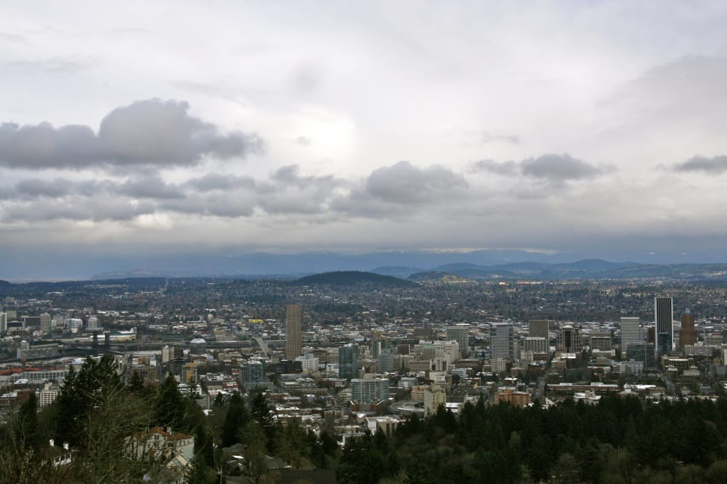 The views of the Portland skyline are spectacular from the Pittock Mansion.