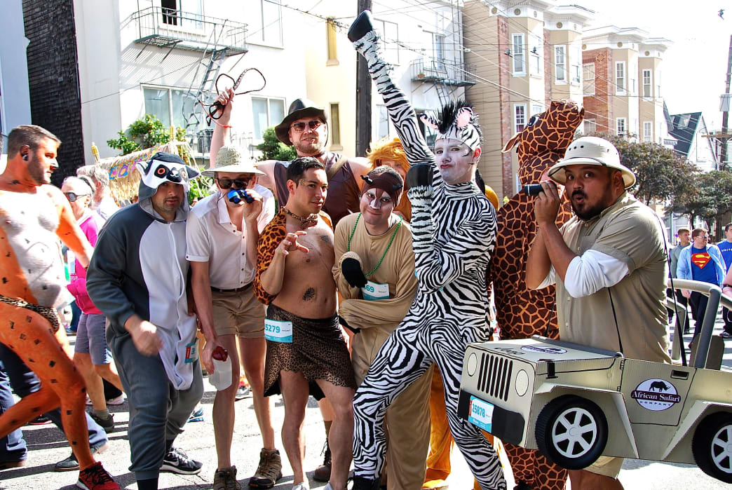 A group of safari-themed runners poses during the Bay to Breakers.