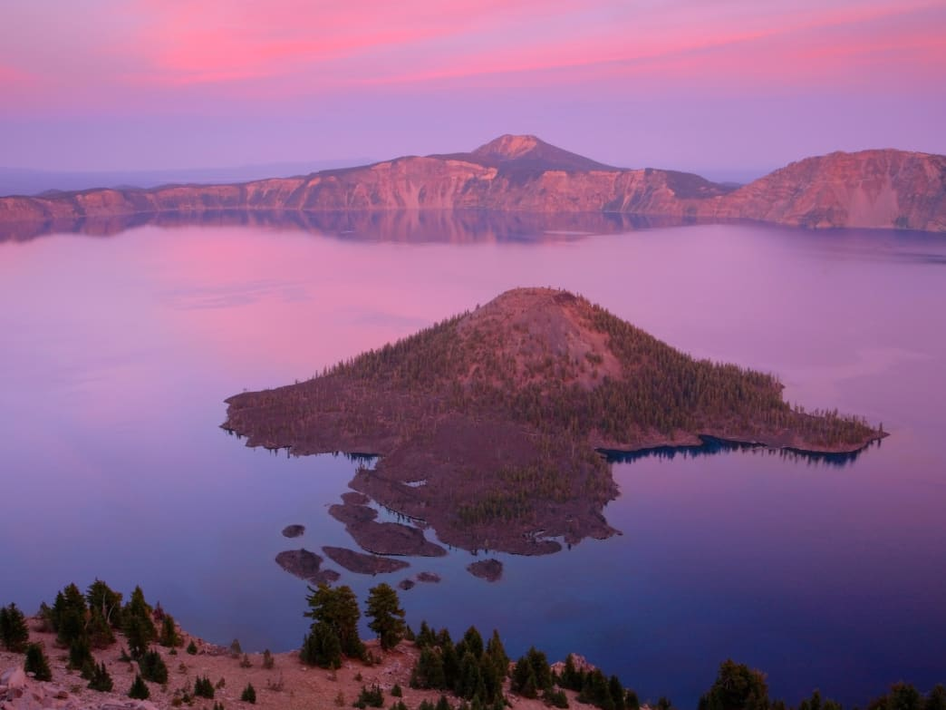 Wizard Island, located in Crater Lake, is one of the area's most unique outdoor experiences.