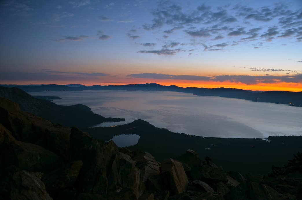 Sunrise over Lake Tahoe from the summit of Mt. Tallac.