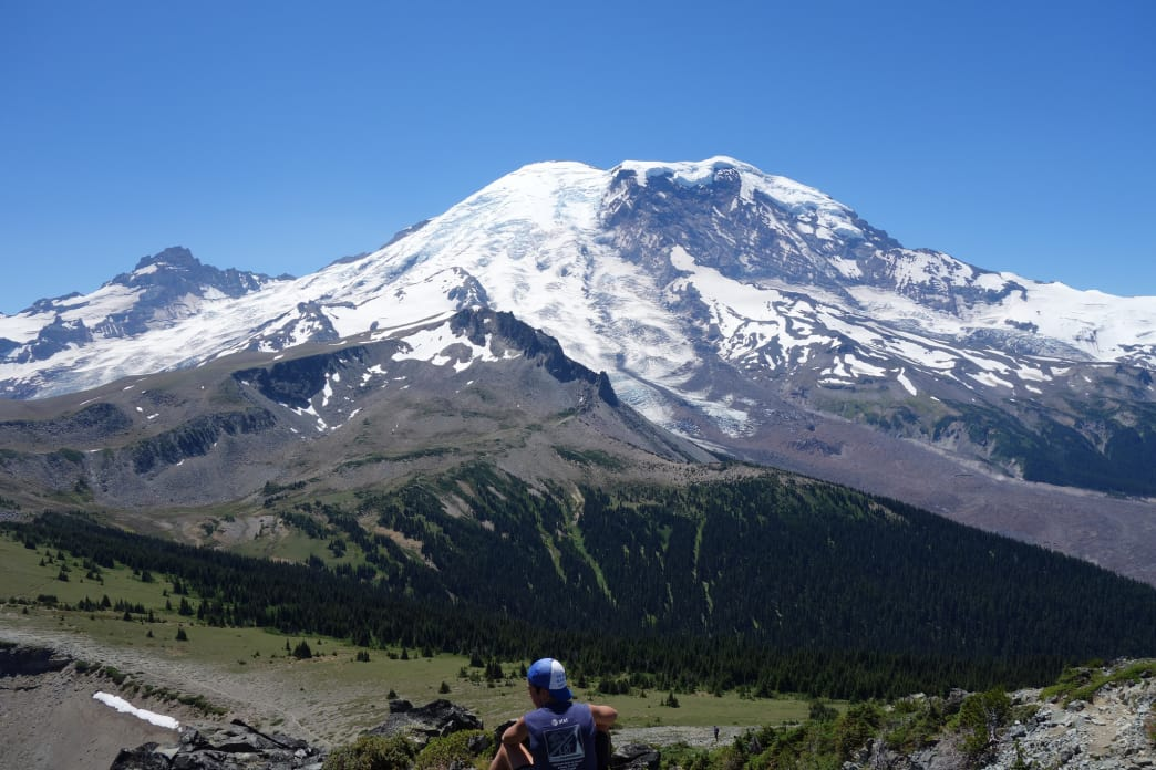 Taking in the views of Mount Rainier