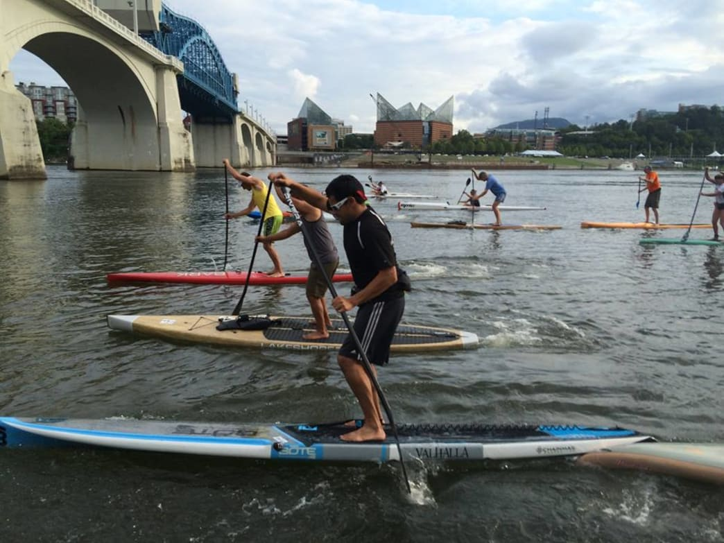 Photo of SUP race at downtown Chattanooga
