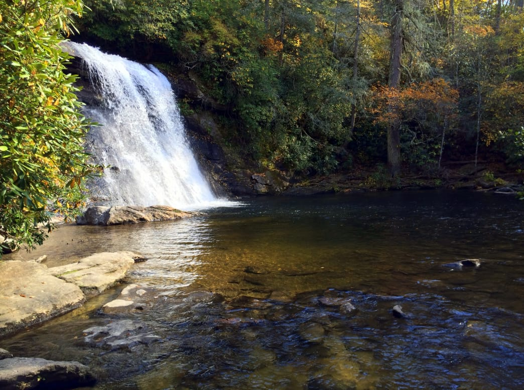 Silver Run Falls is near the town of Cashiers.