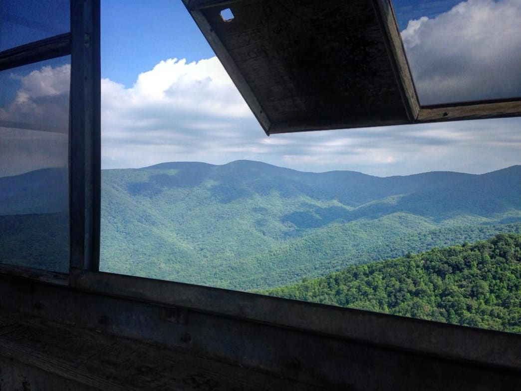 Looking out Shuckstack Fire Tower in the Great Smoky Mountains National Park.