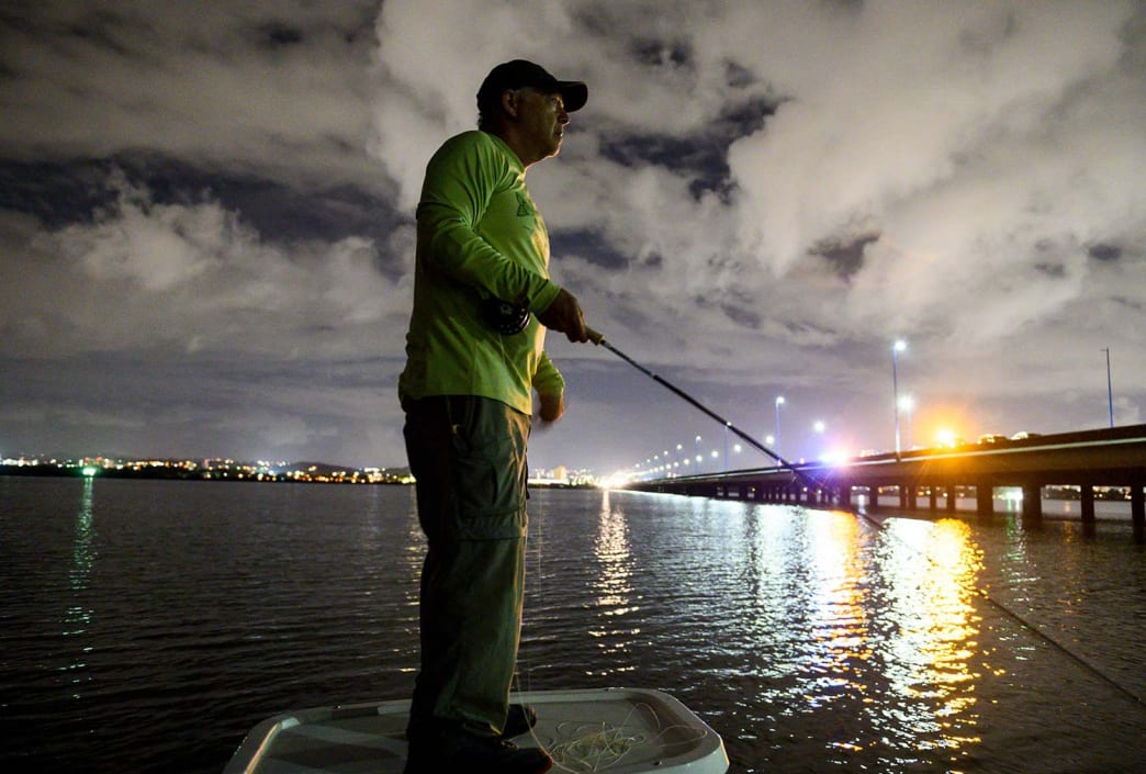 The author fishes for evening tarpon outside San Juan.