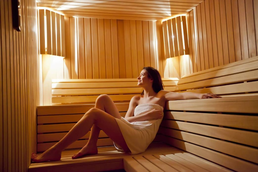 Find the balance in the extremes: after a dive into icy water, get your warmth back in a sauna.