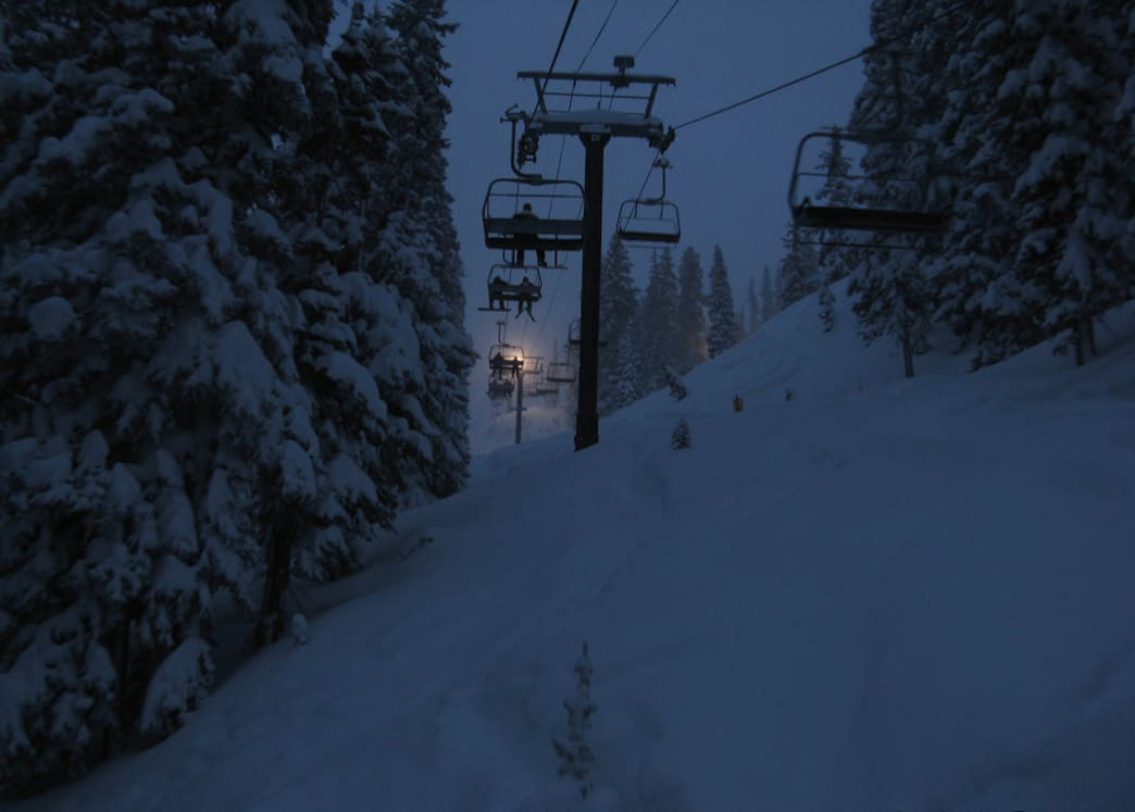 Swoosh through the dimly lit forest as part of your night ski adventure at Brighton.