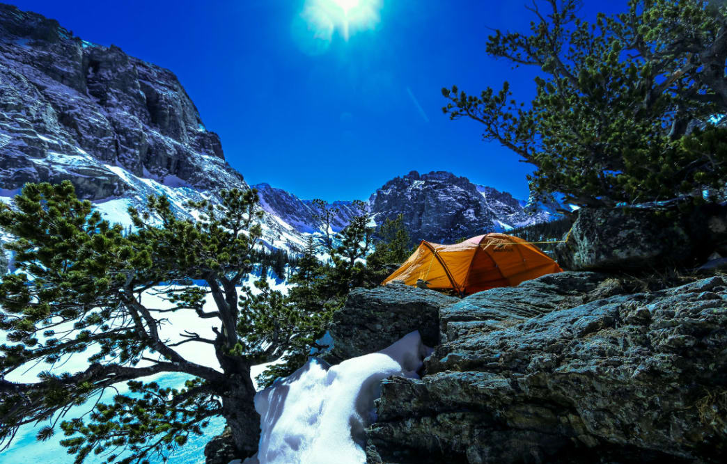 Rocky Mountain National Park in winter camping