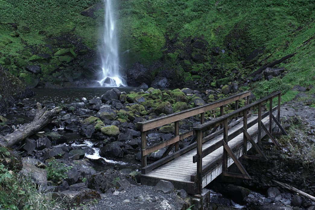 Elowah Falls, in the Columbia River Gorge, puts on a beautiful show in a secluded setting.