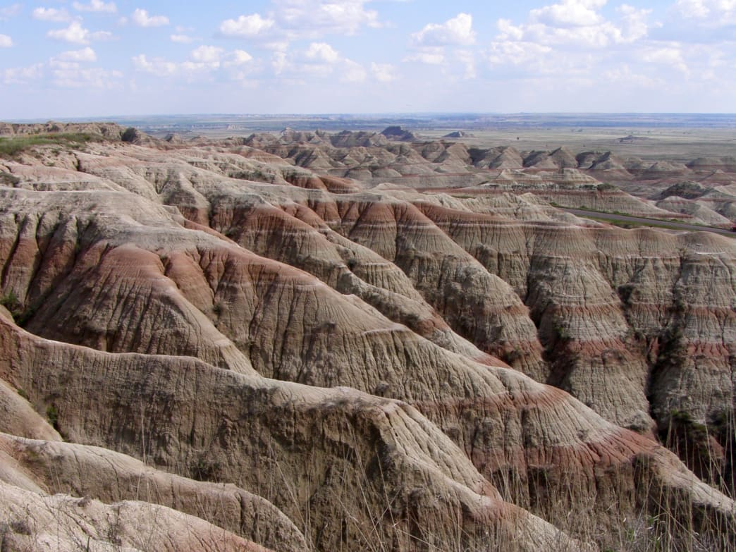 Colorful rock bands at Badlands.