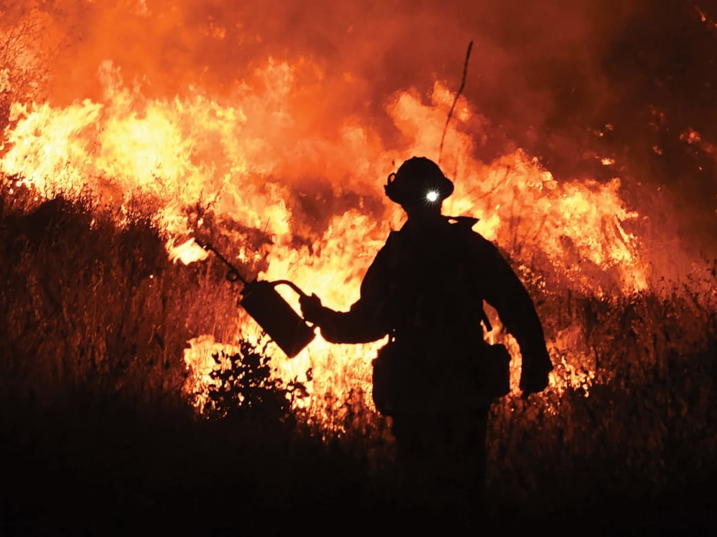 firefighter in the flames