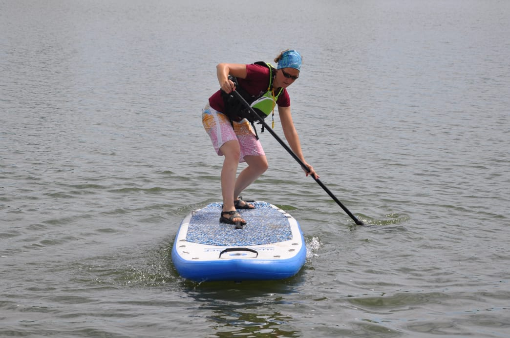 Randi Hitchcock teaches a quick turn on her SUP board.