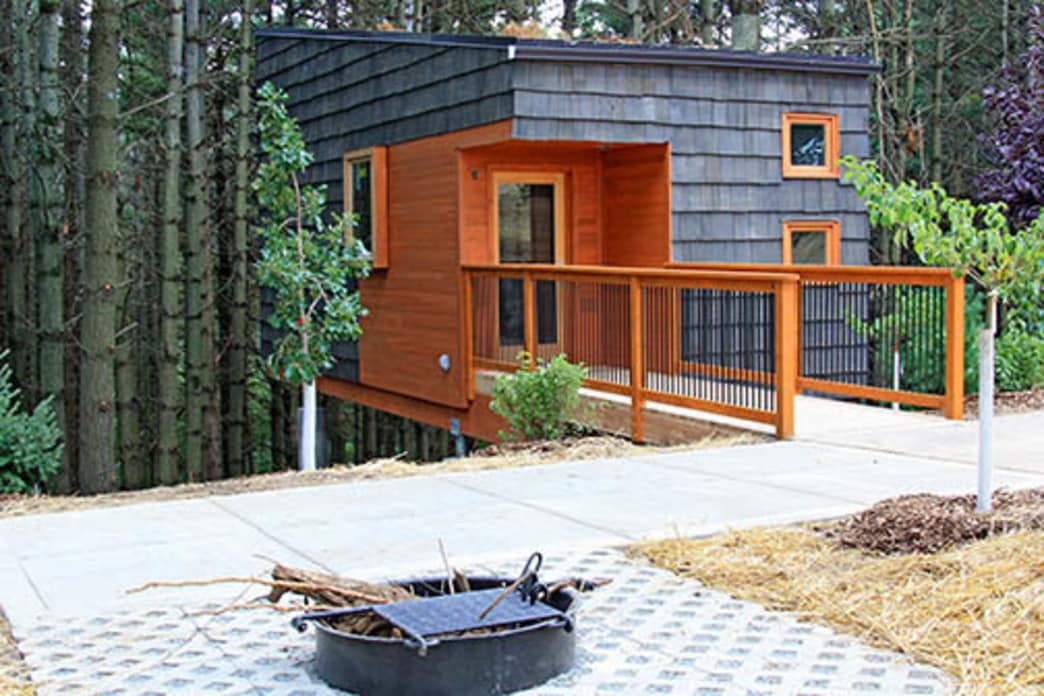 The cabins at Whitetail Woods Regional Park feature a rustic modern design, which has been a big hit with campers.