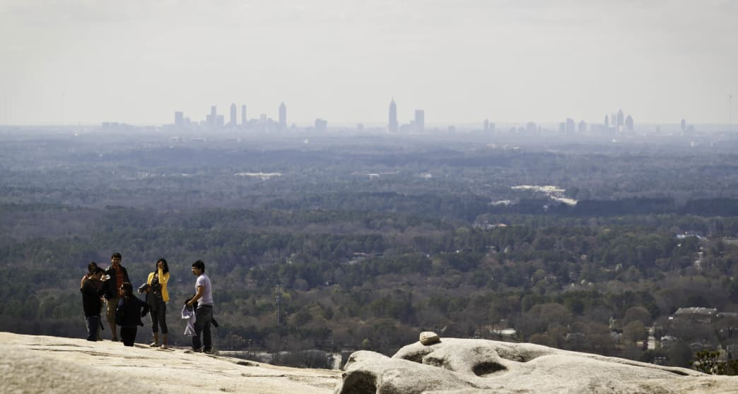 Stone Mountain is known for its views of the Atlanta skyline.