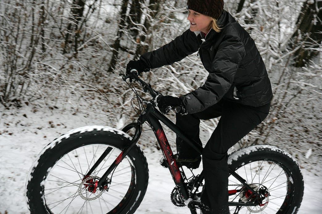 Fat bikes come with big, knobby tires to better grip the snow and ice.