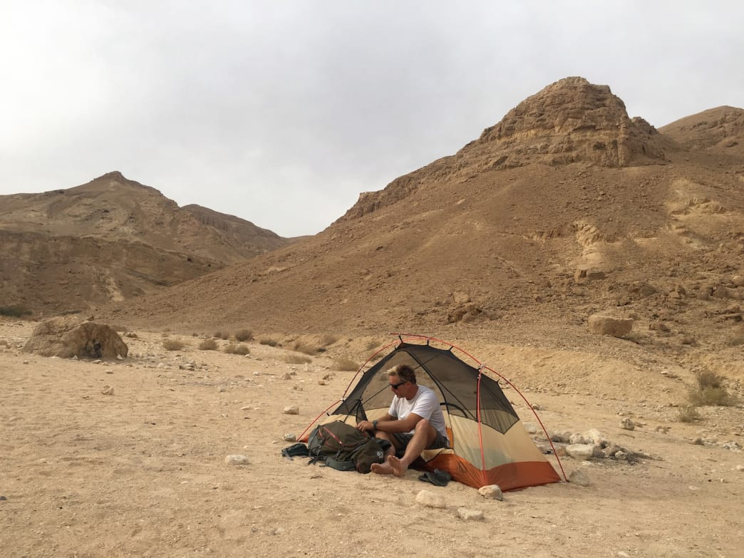 Pitch a tent in the moon-like landscape of the Negev Desert.