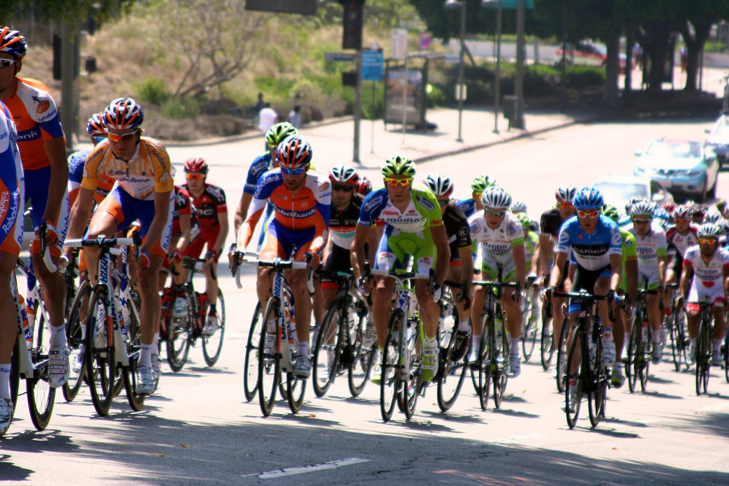 The pros grind through Stage 8 on the 2012 Tour of California.