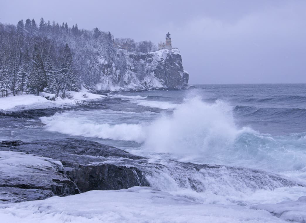 Crashing waves at the Split Rock Lighthouse State Park.