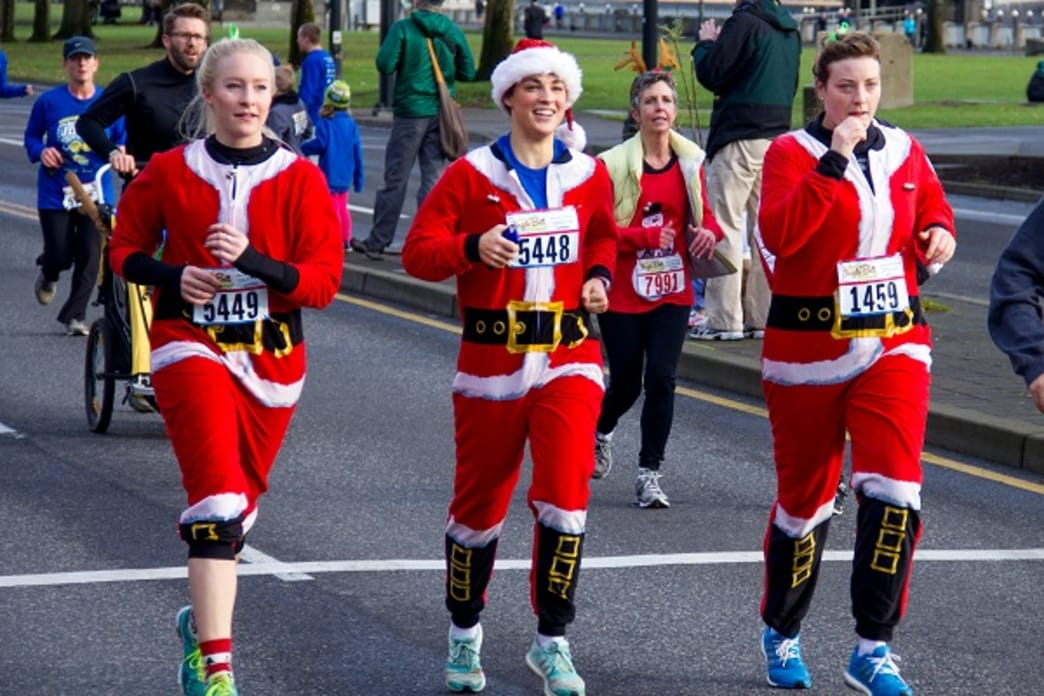Runners are encouraged to dress up in holiday costumes at the Jingle Bell Run/Walk.